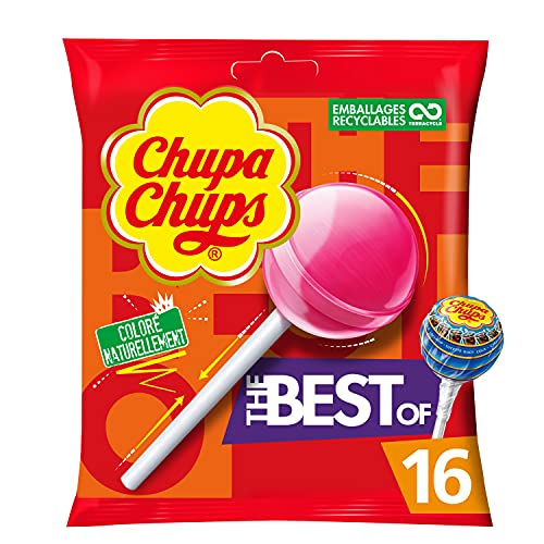Chupa Chups - Sachet de 16 Sucettes Best Of - 4 Parfums Assortis - Chupa Chups Cola, Milky, Fraise et Pomme - Sucettes à la Pulpe de Fruits