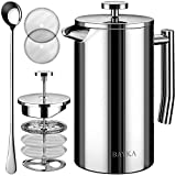 BAYKA French Press Coffee and Tea Maker, 34oz Double-Wall Stainless Steel Metal Insulated Pot with 4 Level Filtration...