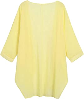 Womens Casual Loose Plain Stylish Kimono Chiffon Shirt Cardigan
