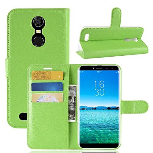 LMFULM® Hülle für OUKITEL C8 3G / 4G (5,5 Zoll) PU Leder Magnetverschluss Brieftasche Lederhülle Handytasche Litschi Muster Standfunktion Ledertasche Flip Cover für OUKITEL C8 Grün