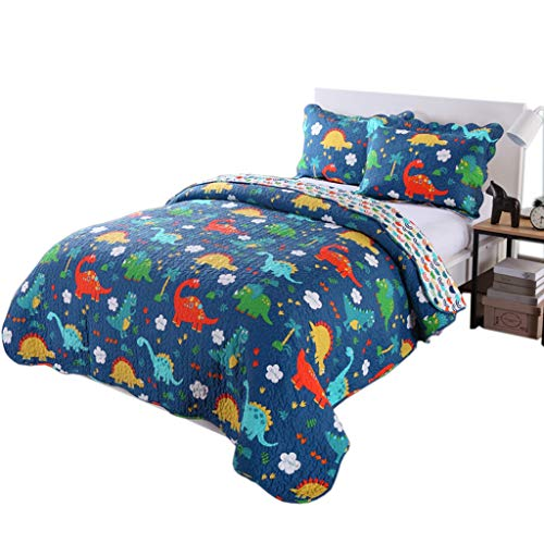 100% Cotton 3 Piece Kids Quilt Bedspread Comforter Set Throw Blanket for Teens Boys Girls Kids Beds Bedding Coverlet, Cartoon Dinosaur (Full)