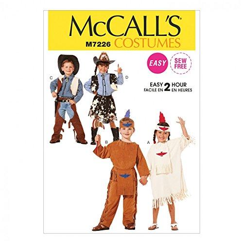 McCall 's Kinder Schnittmuster 7226Cowboys und Indianer Kostüme + Gratis Minerva Crafts Craft Guide