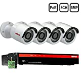 BTG 8CH 5MP 4 Cameras PoE Security Camera System 4K NVR Built-in PoE with Outdoor 5MP Surveillance IP PoE 4 Bullet Cameras HD 2592 x 1944 IR CCTV System H265 1TB HDD