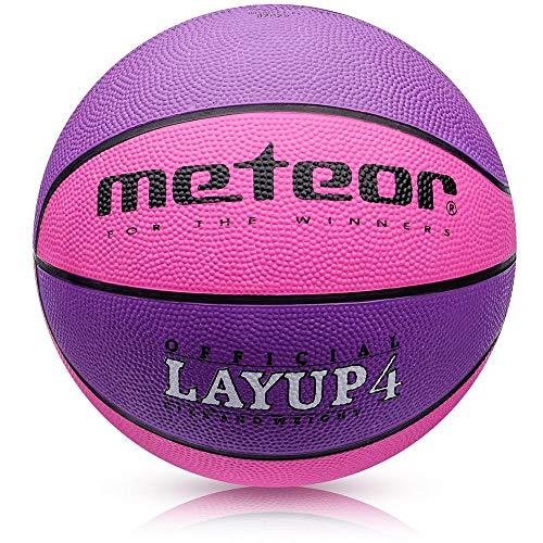 meteor® Kinder Basketball Layup Größe #4 Jugend Basketball ideal auf die Kinder-hände 5-10 Jahre idealer Mini Basketball für Ausbildung weicher Outdoor mit griffiger Oberfläche (Größe #4, Rosa)
