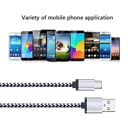 Android Charger Cable, FiveBox 5-Pack 6ft Micro USB Cable Cord Braided Fast Charging Phone Charger for Samsung Galaxy J3 J7 S6 S7 Edge, Tablet, LG stylo 2/3 LG G3 G4 K30 K20 Plus, Kindle Fire 7 8 10