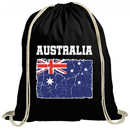 ShirtStreet Australien Fußball WM Fanfest Gruppen Fan natur Turnbeutel Rucksack Gymsac Wappen Australia, Größe: onesize,schwarz natur