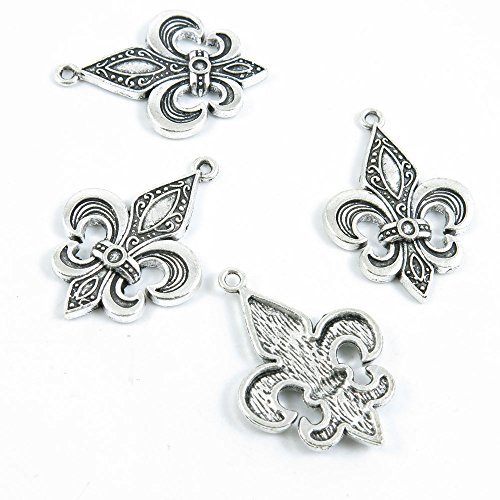 Price per 15 Pieces Antique Silver Tone Jewelry Making Charms Supply I6OY8 Fleur De Lis Iris Lily