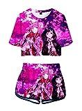 WANHONGYUE Anime Darling In The Franxx Impreso en 3D Camiseta y Pantalone Cortos 2 Piezas Conjunto Niñas Mujer Crop Top T-Shirt y Shorts Set 1003/7 M