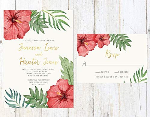 Tropical Wedding Invitation, Tropical Flowers Wedding Invitation, Destination Wedding Invite