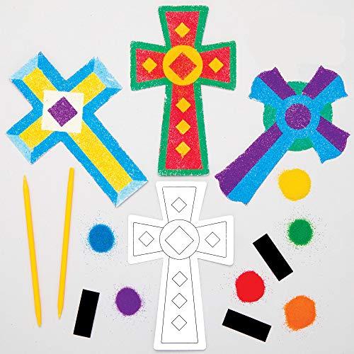 Baker Ross Kreuz Sandkunst Magnete Bastelset für Kinder (6 Stück) Kreativsets zum Basteln und Dekorieren zur Frühlingszeit