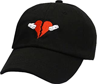 70774b358a991 FGSS Mens Heart Break Embroidery Adjustable Cotton Strapback Dad Hat  Baseball Cap