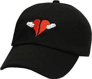 FGSS Mens Heart Break Embroidery Adjustable Cotton Strapback Dad Hat Baseball Cap
