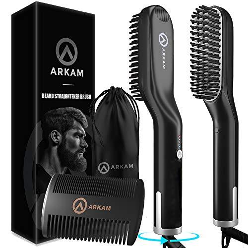 Arkam Elite Ionen Bartglätter für Männer mit Bartkamm - Elektrischer Bartkamm für Herren - Glätteisen für Herren - Bart Stylingkamm und Haarglätter - Hochwertige Bürste