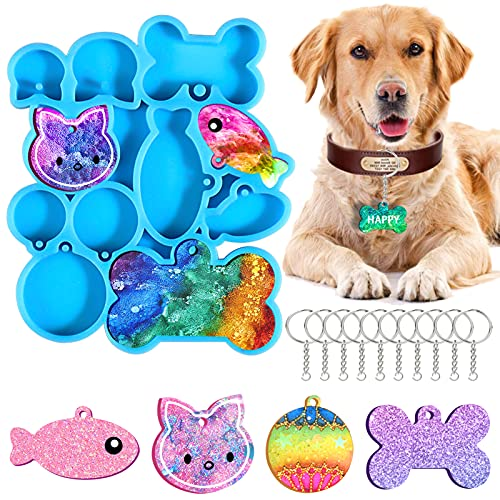Dog Bone Shaped Tag Resin Mold Silicone Kit, Cat Tag and Fish Keychain Mold, Round Pendant Epoxy Casting Mould with 10 Pieces Key Rings for DIY Crafts Jewelry Making Supplies