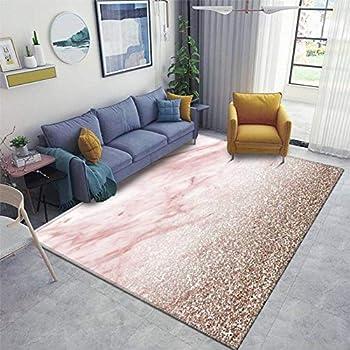 Rose Gold Champagne Glitter Gradient Area Rugs Non-Slip Floor Mat Doormats Home Runner Rug Carpet for Bedroom Indoor Outdoor Kids Play Mat Nursery Throw Rugs Yoga Mat