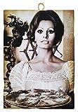KUSTOM ART Cuadro de estilo vintage de los famosos actores, Sofía Loren que sirve la pizza, impresión sobre madera, para decoración de restaurantes, pizzerías, tractores de bar, hotel, locanda