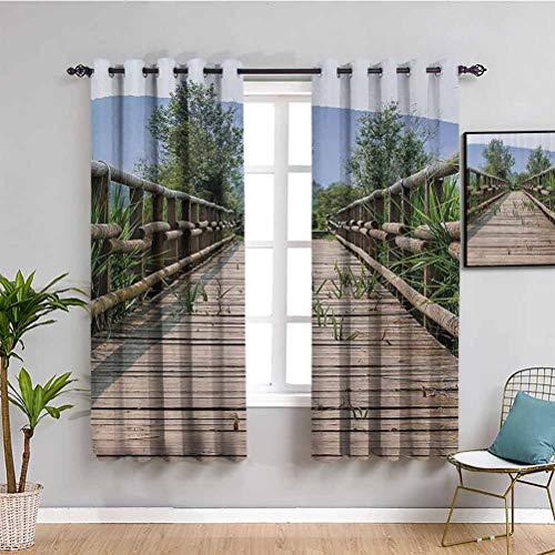 Apartment Decor Collection Cortina de ventana Detrited Old Wooden Bridge cubierto por largo campo de hierba en verano Picture Bring beauty Beige Green Blue W52 x L63 pulgadas