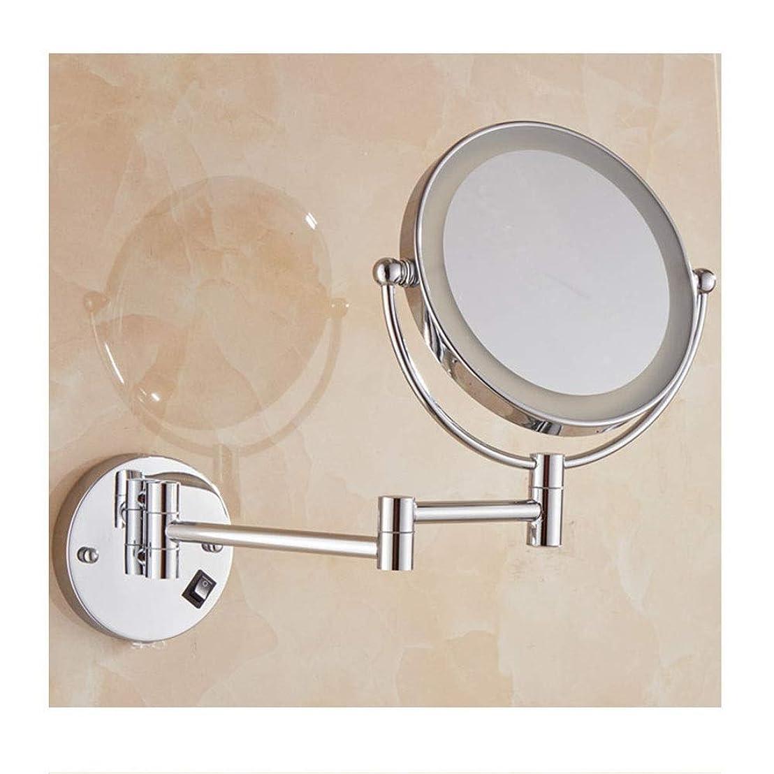 標準請求納税者充電式美容ミラー両面LEDライト拡大壁掛け折りたたみ伸縮ミラーバスルームバスルームバニティミラー (Color : Silver)
