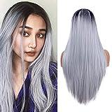 Largas pelucas rectas para las mujeres moda plata gris vestido de lujo 22 pulgadas Ombre peluca sintética resistente al calor peluca de parte media