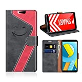 MOBESV Smiley Funda Cartera Honor 9 Lite Magnético, Funda Cuero Movil Honor 9 Lite Carcasa Case con Billetera/Soporte para Honor 9 Lite/Huawei P Smart, Negro/Rojo