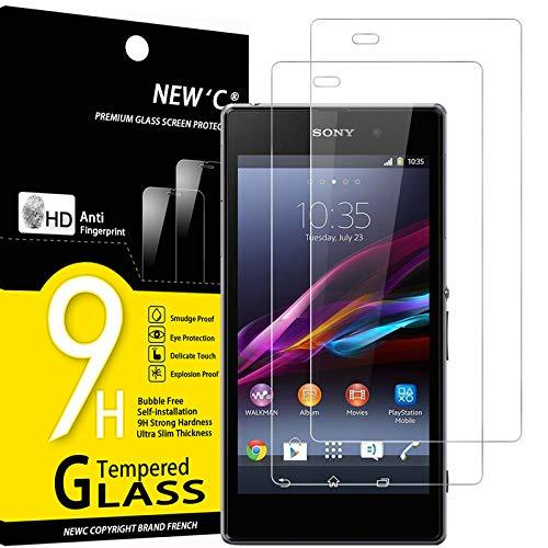 NEW'C 2 Stück, Schutzfolie Panzerglas für Sony Xperia Z1, Frei von Kratzern, 9H Festigkeit, HD Bildschirmschutzfolie, 0.33mm Ultra-klar, Ultrawiderstandsfähig