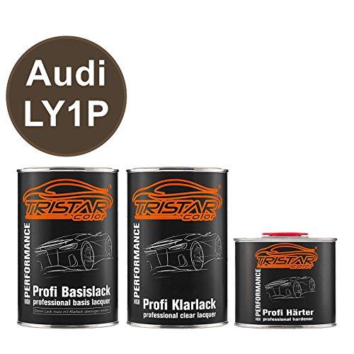 TRISTARcolor Autolack Set Dose spritzfertig für Audi LY1P Dakotagrau Metallic Basislack + 2K Klarlack 2,5L