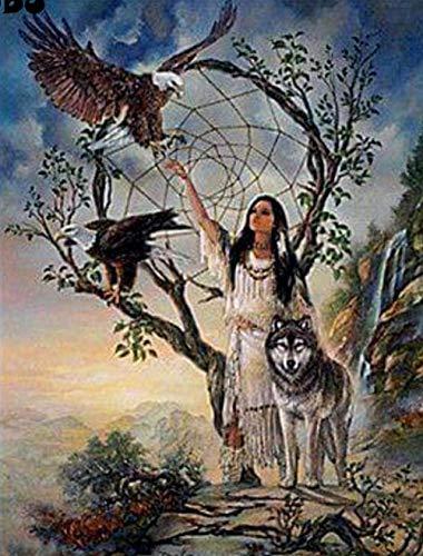 Rompecabezas | Puzle de juguete de lobo de águila de la mujer india | Puzzle 500 piezas