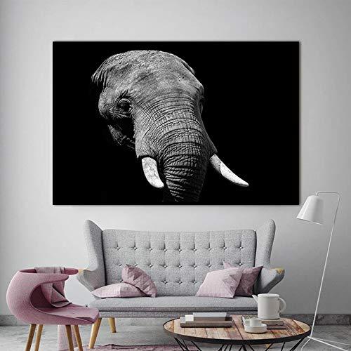 Pintura sobre lienzo animal arte de la pared Elefante africano blanco y negro impresión de la imagen de la pared decoración de la sala arte del hogar pintura decorativa sin marco Z15 30x40cm