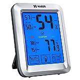 Habor Thermometre Interieur, Thermometre Digital Interieur avec Grand Écran Tactile et Rétroéclairage, Thermometre Hygrometre Interieur, Enregistrements Max/Min dans les 24H