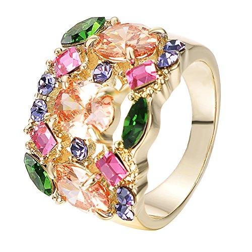 Yoursfs 18 K de oro amarillo de colores acabado en diamante simulado de anillos de boda