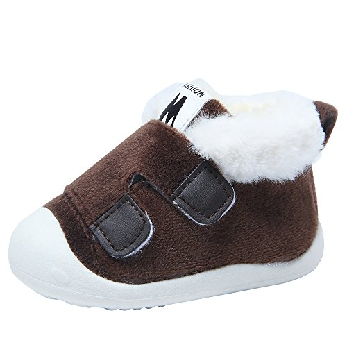 HONGTEYA Super Warm Baby Snow Boots with Fur Baby Bootie for Boys and Girls (13cm 5.11inch 0-6months, Grey)