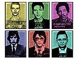 David Bowie, Elvis Presley, Johnny Cash, Jimi Hendrix, Frank Sinatra, Mick Jagger Wall Art Decor - 8x10 Andy Warhol Mugshot Poster for Bedroom, Living Room- Gift for Music Fan, Musician -UNFRAMED Set