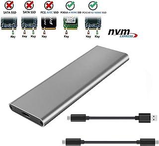 M.2 NVME PCI-E エンクロージャ M.2 NVMe SSD M.2 NVME - USB3.1 Type-C GEN2 10GBPS エンクロージャ M.2 NVME SSD アダプター M キー ポータブルエンクロージャ Samsung 960/970 EVO/PRO SM961 WD Black NVME SSD (グレー)