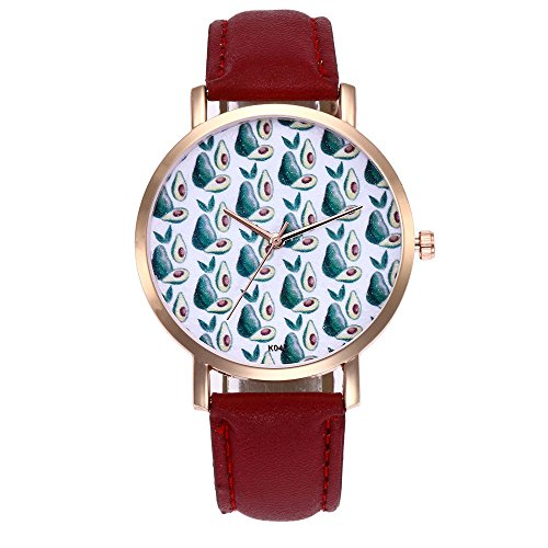 Luckhome Damen Uhr Mit Lederarmband In Graphite Frau Mode Leder Band Analog Quarz Runde Armbanduhr Uhren Neuer Trend Gürteluhr(Rot)