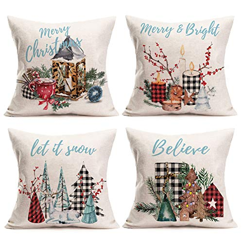 Gulidi Pack of 4 Christmas Decorations Pillow Covers 18x18 Inch Let it Snow Buffalo Plaids Leopard Print with Mistletoe Pine Tree Cotton Linen Winter Holiday Throw Pillow Cushion Cover for Xmas Sofa