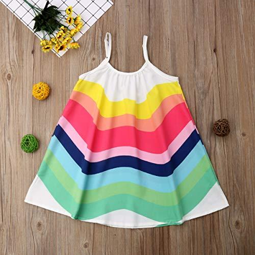 Toddler Baby Girl Summer Boho Rainbow Stripe Spaghetti Strap Beach Sun Dress (Rainbow, 3-4T)