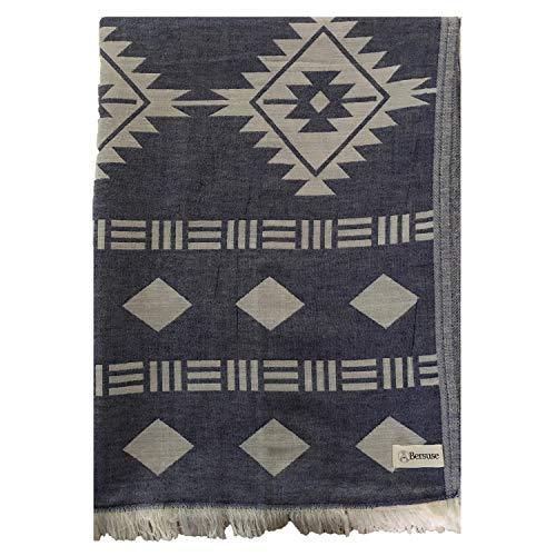 Bersuse 100% Katoen - Belize XXL Deken Turkse Handdoek - Peshtemal Hoes voor Bed en Bank - Aztec Design, Dual-Layer -OEKO-TEX - 75 x 90 Inches, Donkerblauw