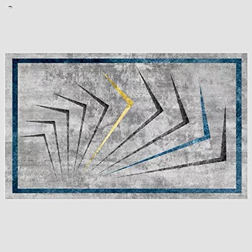 VBUEFM Lujosa Alfombra Moderna para Salón habitación de los Niños Dormitorio - Alfombra Antideslizante Muy Suave, Lavable, Patrón Geométrico Azul Oro Negro Gris 160 x 230 cm