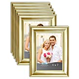 Icona Bay 5x7 Picture Frame (Gold, 6 Pack), Gold Photo Frame 5 x 7, Wall Mount or Table Top, Elegante Collection