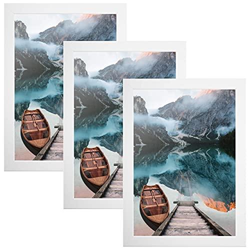 CABBEL 3er Set Bilderrahmen DIN A4 21x30 MDF Holz-Rahmen mit bruchsicherem Acrylglas, ideal für Collagen, Portraits & Urkunden in Weiß