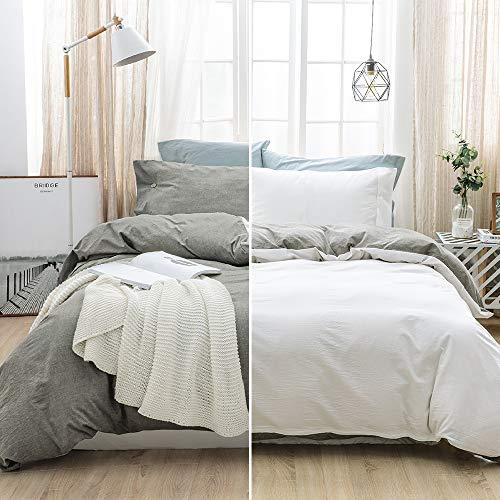 SOULFUL Double Bedding Duvet Cover Set - Washed Cotton Duvet Cover Double Size 3PCS, Plain Reversible Duvet Cover Set with 2 Pillowcases, Zipper Closure(200x200cm, Light Grey/white)