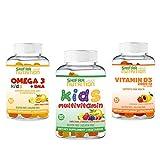 SHIFAA NUTRITION Kids 3 Pack Bundle - Omega 3, Multivitamins & Vitamin D3 - Halal Vitamins