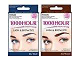 Combo Pack! 1000 Hour Eyelash & Brow Dye/Tint Kit Permanent Mascara (Blue Black & Dark Brown)