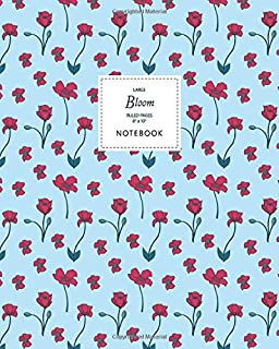 Bloom Notebook - Ruled Pages - 8x10 - Large: (Sky Blue Edition) Fun Christmas notebook 192 ruled/lined pages (8x10 inches ...