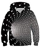 Rave on Friday 3D Impreso Hoodie Niños Niñas Vórtice Sudadera con Capucha Novedad Sudaderas Manga Larga Cool Pullover con Bolsillo XL (14-16 Años, 155-172 cm)