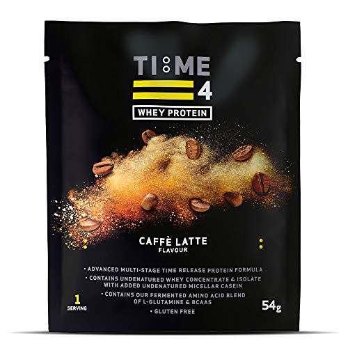 Time 4 Whey Protein - Time Release Blend of Whey Protein Isolate, Whey Protein Concentrate, Micellar Casein, BCAAs & Probiotics (Caffe Latte, 7 x 54g Sachets)