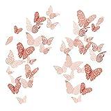 36 Pcs 3D Etiqueta Engomada Mariposa 3 Tamaños Pegatinas Decorar Muebles de Bricolaje Decoracion Boda Decoración del Hogar Extraíble Mural de Pared Decorativo(Color oro rosa)
