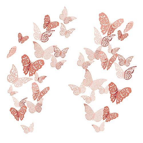 36 Pcs 3D Etiqueta Engomada Mariposa 3 Tamaños Pegatinas Decorar Muebles de...