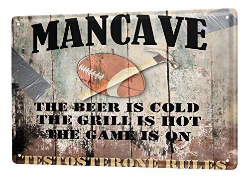 LEotiE SINCE 2004 Blechschild Dekoschild Küche Garage Man Cave American Football Bier Grill Regeln Metall Deko Schild 20X30 cm