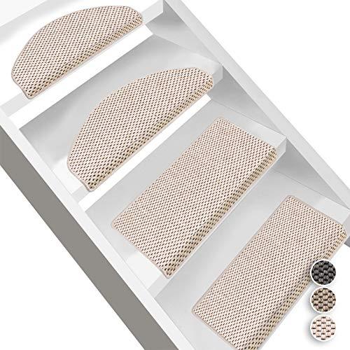 Floordirekt Stufenmatten Kalkutta   Halbrund oder Eckig   Sisaloptik   Treppenmatten in 3 Farben   Luxeriös & strapazierfähig   Stufenteppich für Innen (Beige, Halbrund 65 x 23,5 cm)